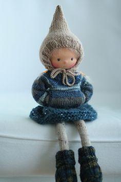 """Handgemachte Kunst Puppe, gestrickt Puppe Lois 14"""" Peperuda Puppen, Waldorf Puppe, weiche Puppe"""