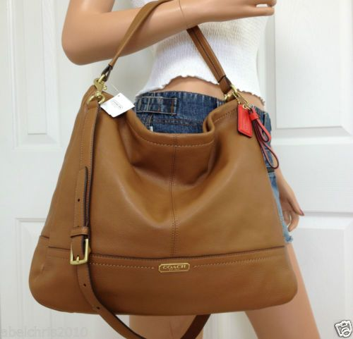 Nwt coach brown leather shoulder crossbody hobo bag purse ...