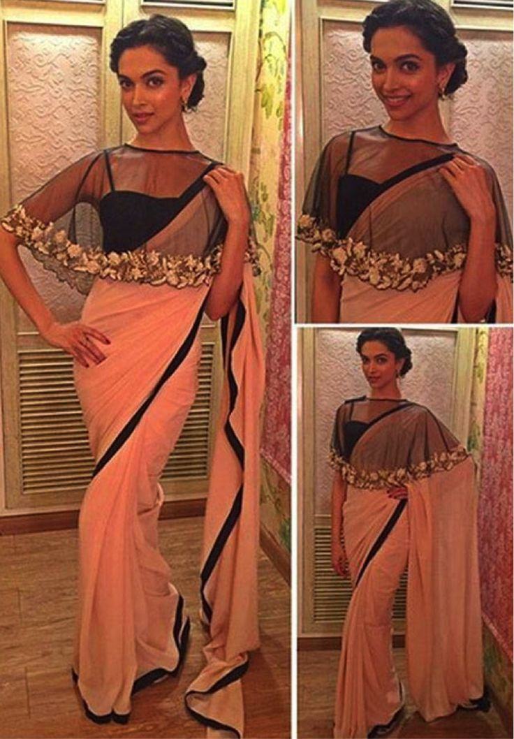 #Cape #Blouse. The hottest new trend on the shelf is the capes. Deepika Padukone wore this minimalistic pink saree with a beautiful cape blouse during promotion of Bajirao Mastani. Cape Blouse looks sensual and are sure to grab attention in any party