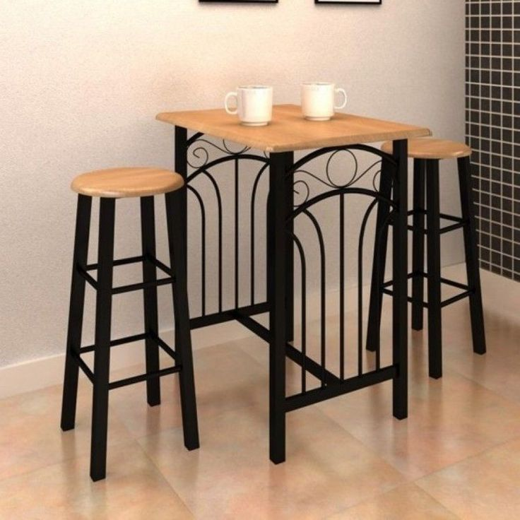 Dinner Table And Chairs Wooden Steel Coffe Bar Kitchen Furniture 3 Piece Set Pub