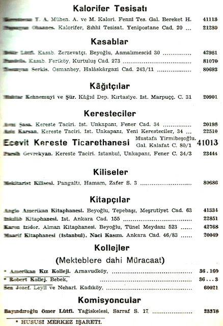 1942 senesi Ptt İstanbul telefon rehberi meslekler bölümünden kalorifer tesisatı, kasaplar, kağıtçılar, keresteciler, kiliseler, kitapçılar, kolejler, komisyoncular.