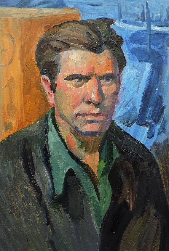 Vintage Original oil painting Ukrainian Painting Male Portrait One of a Kind