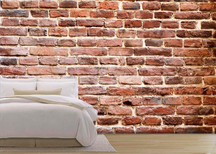 wall26 - Background of Brick Wall Texture. the Red Brick Wall of a House - Removable Wall Mural | Self-adhesive Large Wallpaper - 100x144 inches