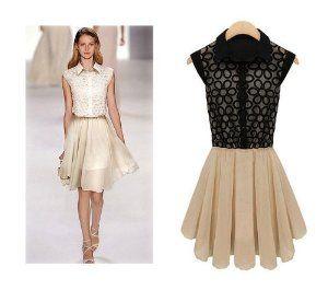 Aokin Women Ladies Lapel Sleeveless Chiffon Lace Dresses (L, Black)
