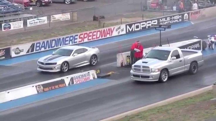 Драг Рейсинг Шевроле Камаро и Додж Рам Drag Race Dodge Ram SRT10 vs Cama...