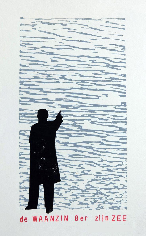 de waanzin achter zijn zee  -the dictator- Linosnede en sjabloondruk