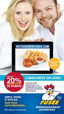 20% de rabais pour toute commande en ligne chez Rotisseries Fusée