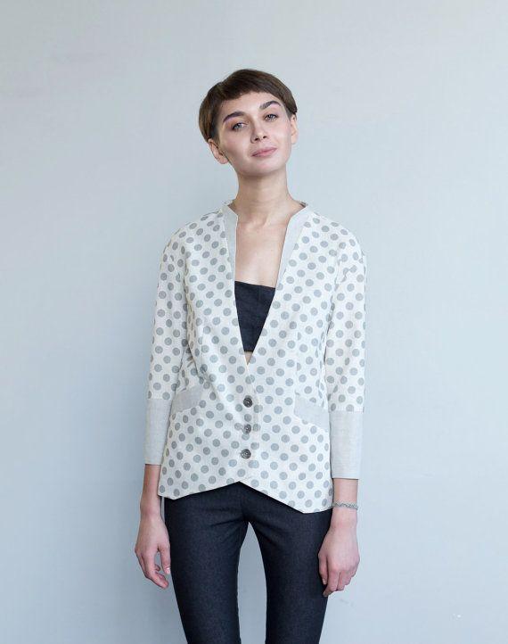 Linen jacket women / Polka dot blazer / Summer by ExlibrisClothing