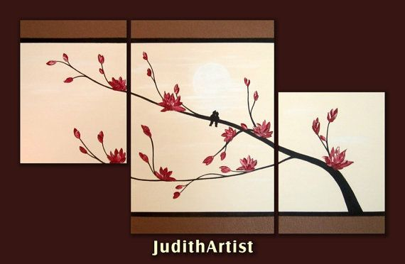 Huge LOVE BIRDS painting on canvas Tree Blossom heavy by studiox26, $275.00