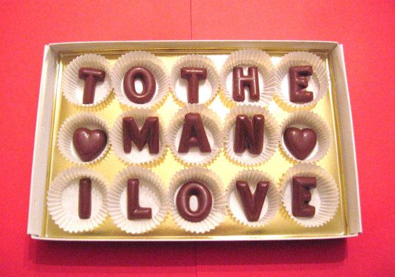 Valentine day gift for him-Customized Milk chocolate candy letters