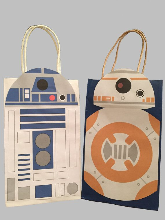 Star Wars R2D2 & BB8 Party Favor Bag Printable, Star Wars Birthday Party Goodie Bag, Star Wars Party Supplies, Star Wars Party Favor                                                                                                                                                                                 More