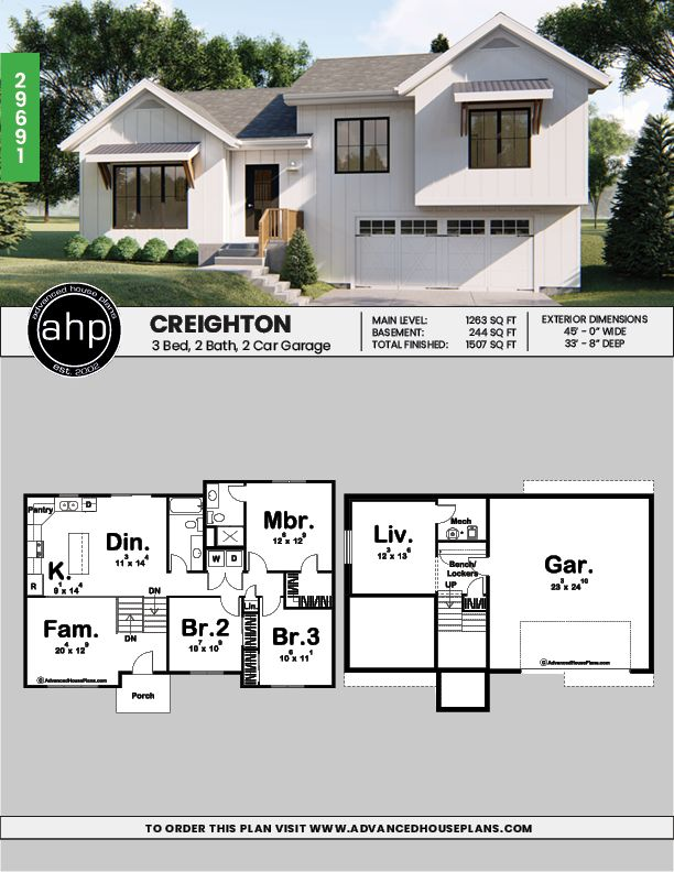 Split Level Modern Farmhouse House Plan | Creighton ...