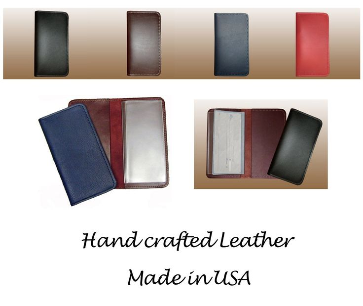 Black 100% Genuine Leather Checkbook Cover Wallet for Duplicate Checks