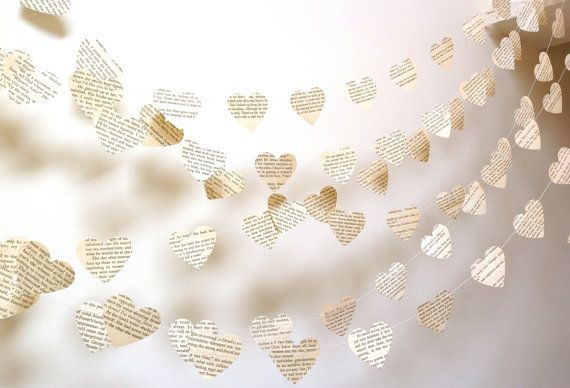 Vintage French or Choose Your Language Paper Hearts Garland Weddings, Photo Prop Interior 10 Feet