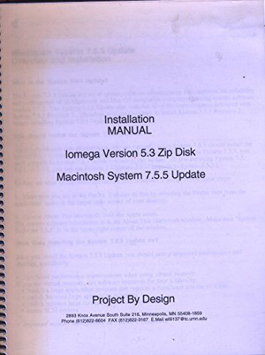 Installation Manual Iomega Version 5.3 Zip Disk Macintosh System 7.5.5 Update