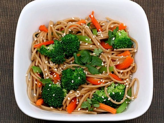 Whole Wheat Noodles with Peanut Sauce and Vegetables Recipe (want to try pretty bad, it looks too yummy haha)