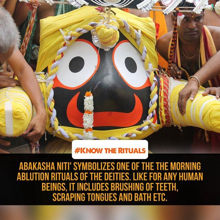 #‎KnowTheRituals‬ 'Abakasha Niti' symbolizes one of the the morning ablution rituals of the deities. Like for any human beings, it includes brushing of teeth, scraping tongues and bath etc. The deities wearing tadapa and utterias perform these. About fifteen sebayatas (Bhitarchha mohapatra, Palia pushpalakas, Suarabadu, Padhiari, Paniapatra, Mukhapakhatia, Khatulisebaka, Darpania, Amla ghantuari, Mahabhoi, Bhandra mekapa and Khurinayak etc) are involved in these rituals.