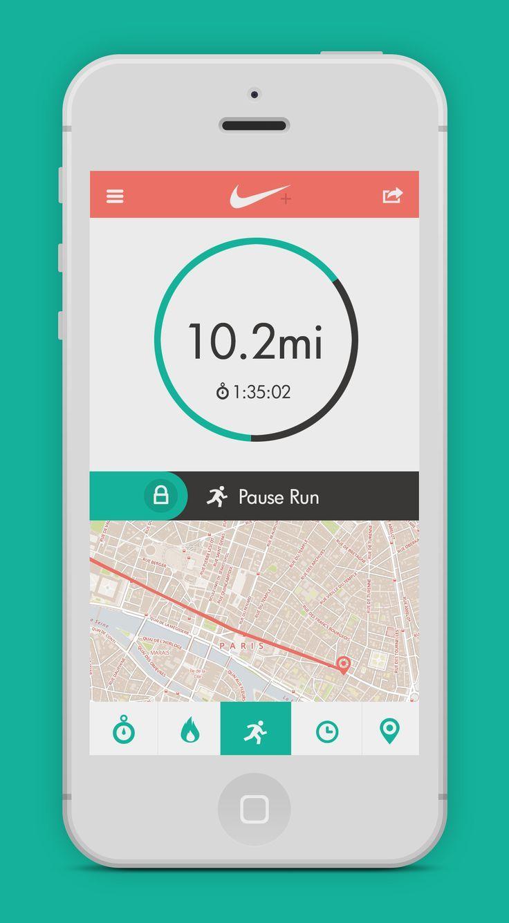 Excellent Flat UI design by Nike-run-app