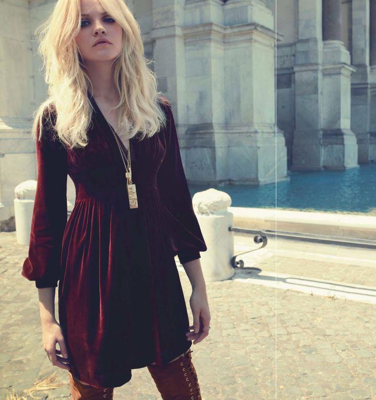 Red Velvet Dress - Harper's Bazaar India - December 2013