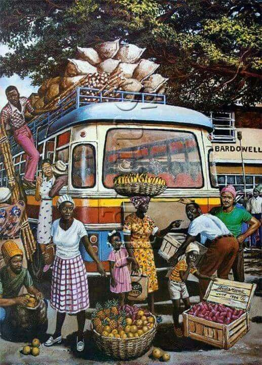 Jamaican art. Market bus