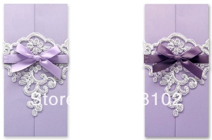 free shipping 50pcs/lot Hand-made High-end Purple With Ribbon 2 Color Option Free Charge Customized Wedding Invitation Card