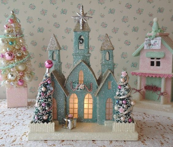 Aqua Lighted Cathedral  Shabby Christmas Cottage by IllusiveSwan