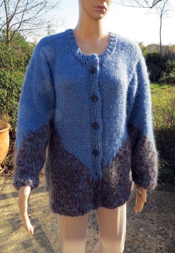 Veste Softine gris-bleu et bleu jean tricotée main