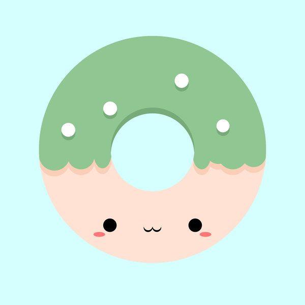 Kawaii donut by ReyoKPoe (print image) | clip art ...