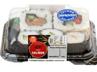 Check out these grab and go lunch ideas all under 200 calories! We love this Tesco Mini Salmon sushi 179 calories