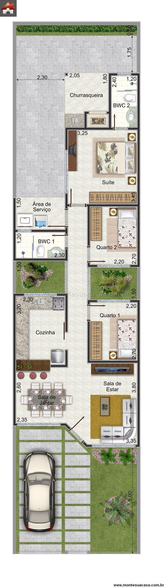 Super idée de maison sans vis à vis sur un terrain d'à peu près 200m2