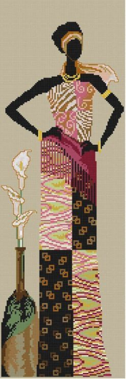 0 point de croix african lady and arums - cross stitch femme africaine et aromes