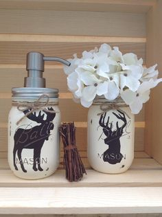 Hand Painted Mason Jar Bath Set, Rustic Animals, Woodland Animals, Moose Decor…