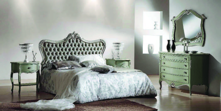 Grey Bed from Meggiorini Santino Collection Pat din lemn masiv