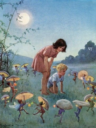 Midsummer night. Margaret Tarrant ( When i was a child, my grandmother told me that fairies came out at night to damce on moss or fairie carpet) I sooo believed her! Maybe I still do !