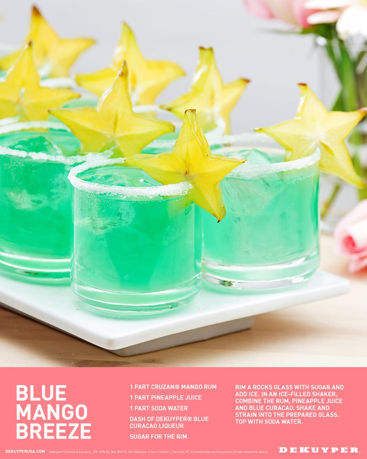 Blue Mango Breeze cocktail recipe, perfect for a signature Spring or Summer Wedding drink. 1 part Cruzan® Mango Rum, 1 part Pineapple juice, 1 part Soda Water, Dash of DeKuyper® Blue Curacao, Sugar for the rim.