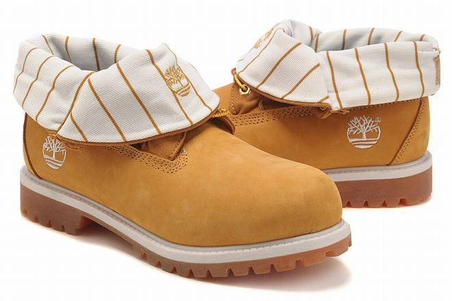 buy cheap Mens Timberland Roll Top Boots With Wheat Yellow Stripe White Edge