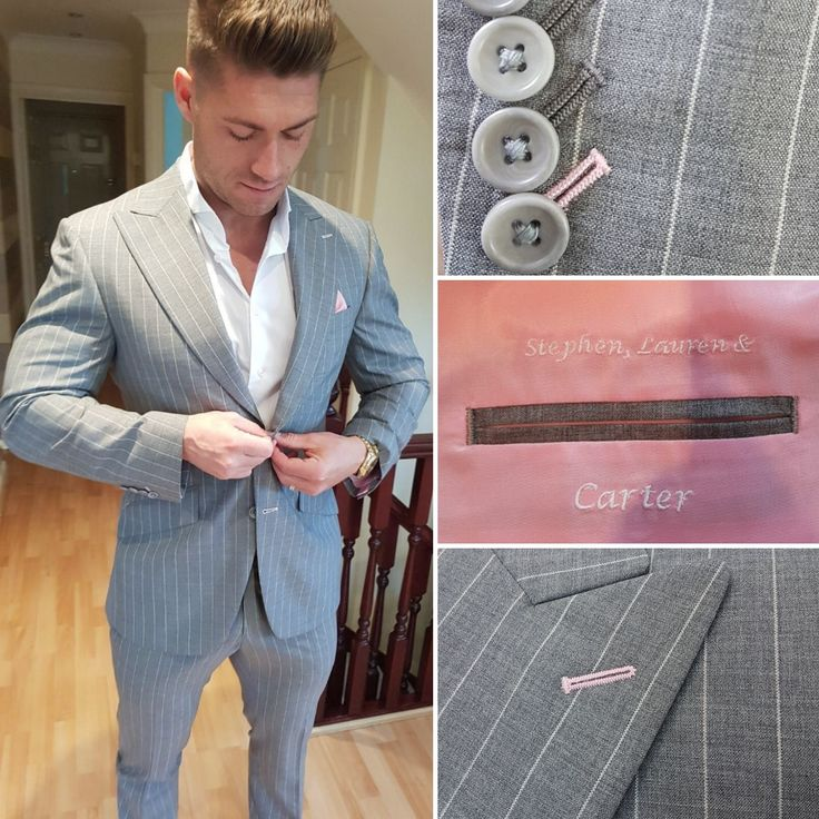Great first fitting of Stephen in his light weight, bold grey pinstripe suit with pink!  #jacket #bespoke #tailors #tailoring #wow #luxury #wedding #photo #photography #image #fujifilm #friends #party #fashion #Alderleyedge #england #uk #cheshire #london #manchester #june #model #portrait #cool #luxury #wedding #love #red #texas #usa