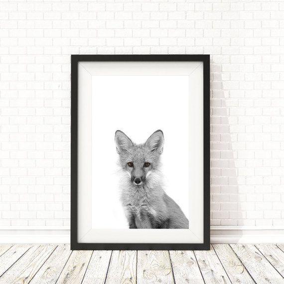 Fox print Woodland Animals nursery art Baby by BatLabPrintables