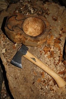 Hywel's in-progress cup and Gransfors Outdoor Axe