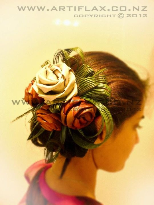 Flax flower fascinator with hapene by Artiflax Ltd   http://www.artiflax.co.nz