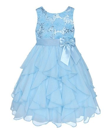 Ice Blue Sequin Ruffle Dress - Toddler & Girls by American Princess #zulily #zulilyfinds