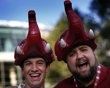 Alabama Crimson Tide fans wear elephant hats outside Sun Life stadium before the BCS National Championship college football game between Alabama and the Notre Dame Fighting Irish in Miami
