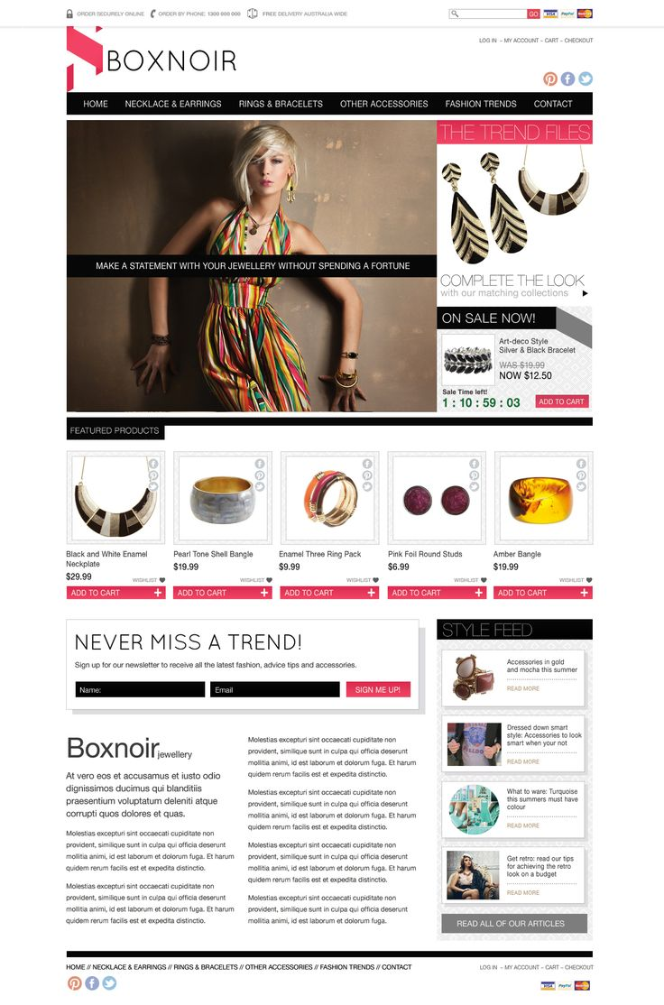 Jewellery ecommerce website concept