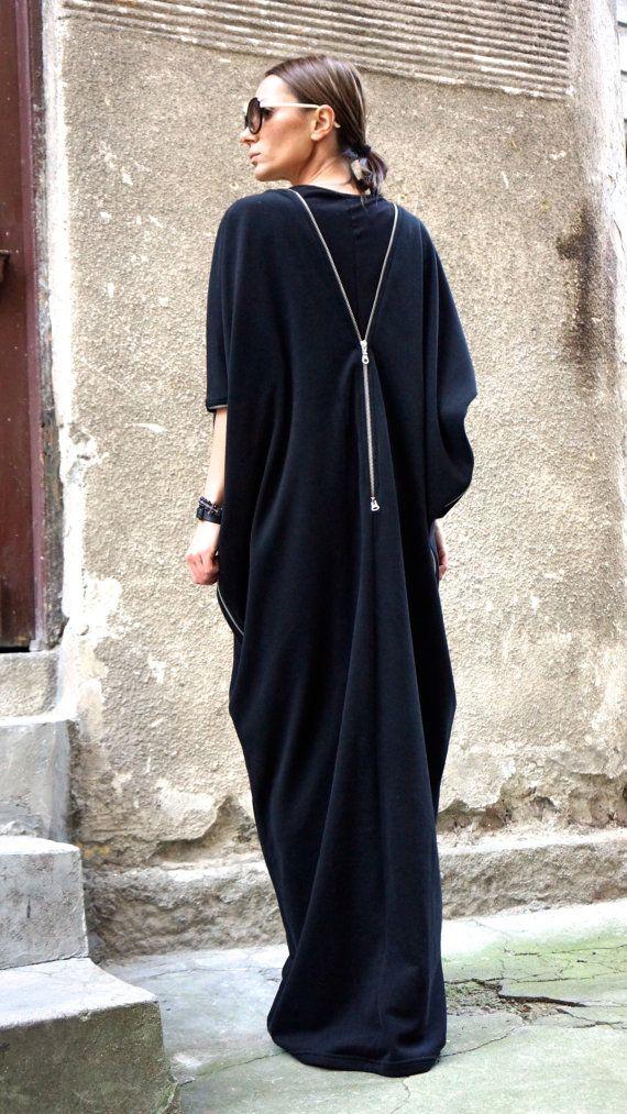 NEW SPRING Collection Zipper  Black  Kaftan / Maxi by Aakasha