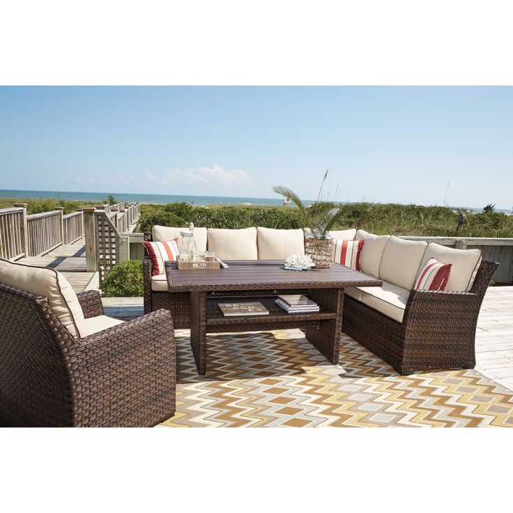 signature design by ashley salceda brown outdoor sofa set set size 7 - Outdoor Sectionals