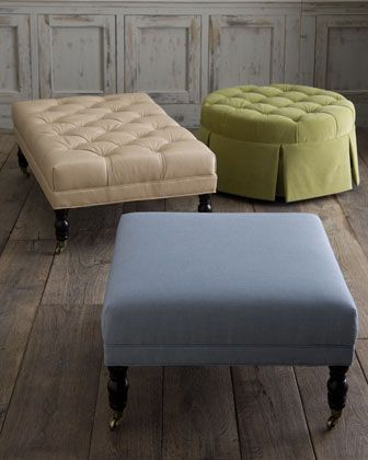 Custom Upholstered Ottomans.  Love the colors