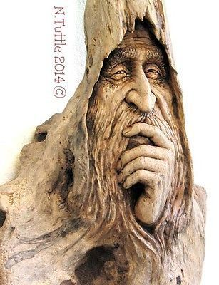 ORIGINAL WOOD SPIRIT WIZARD MUSE, 'THOUGHTFUL MEDITATION' LAUREL OAK by NANCY TUTTLE