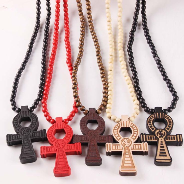 10pcs/lot Ankh Egyptian Power Of Life Good Wood Hip Hop Necklace Wholesale 5 Colors Mixed rock street jewelry