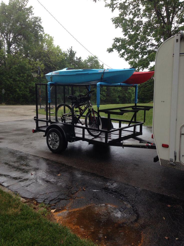 Homemade kayak and bike trailer                                                                                                                                                      More