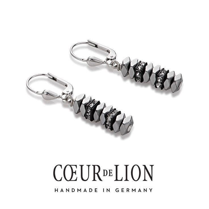 Swarovski haematite grey earrings, handmade in Germany by Coeur de Lion.